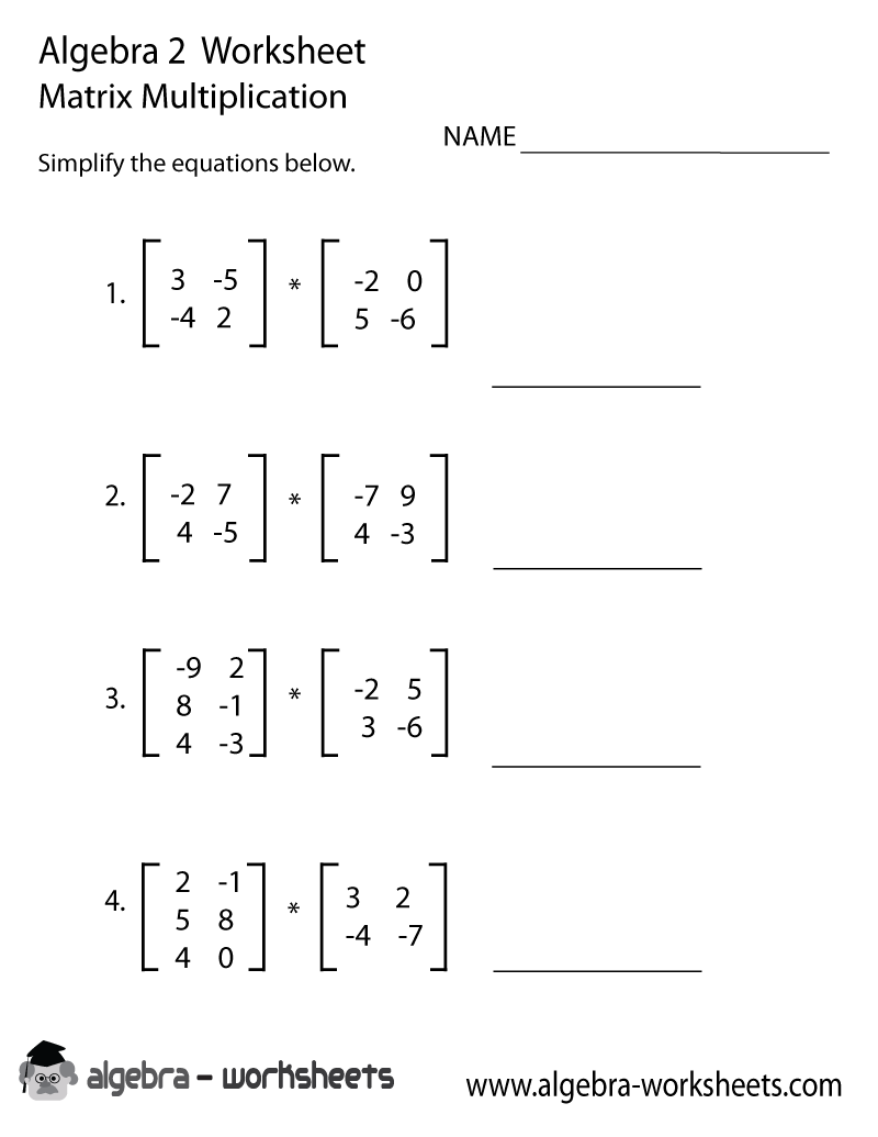 Matrix Multiplication Algebra 2 Worksheet Printable - Optimized for Printing