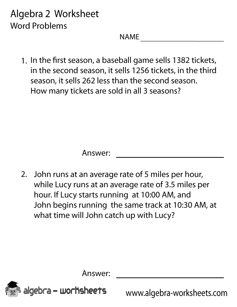 Print the Free Algebra 2 Word Problems Worksheet Printable Version