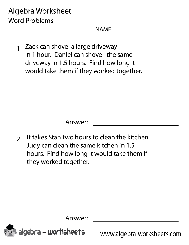 Print the Free PreAlgebra Word Problems Worksheet Printable Version – Algebra Word Problems Worksheet