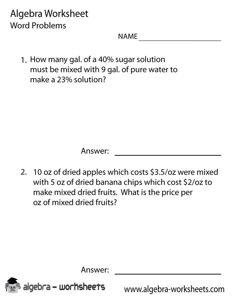 Print The Free Algebra Word Problems Solver Worksheet