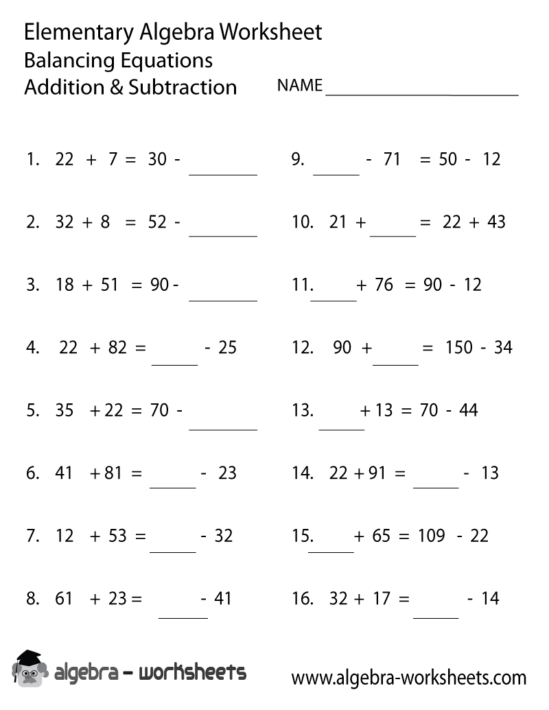 Print the Free Addition and Subtraction Elementary Algebra Worksheet ...