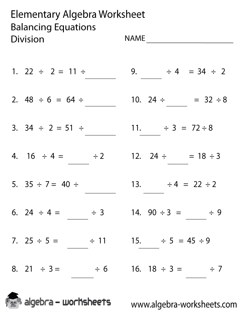 Print the Free Division Elementary Algebra Worksheet ...
