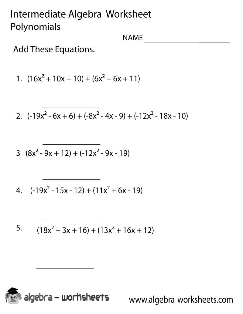 Free intermediate algebra worksheets with answers