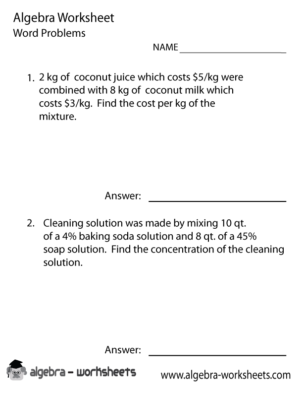 Printables Algebra Problem Worksheets free printable algebra word problems worksheets also available 1 worksheet