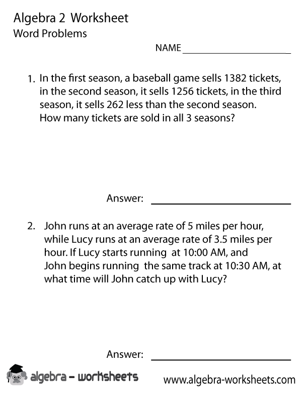 Algebra 2 Word Problems Worksheet Printable – Algebra 2 Worksheets Answers