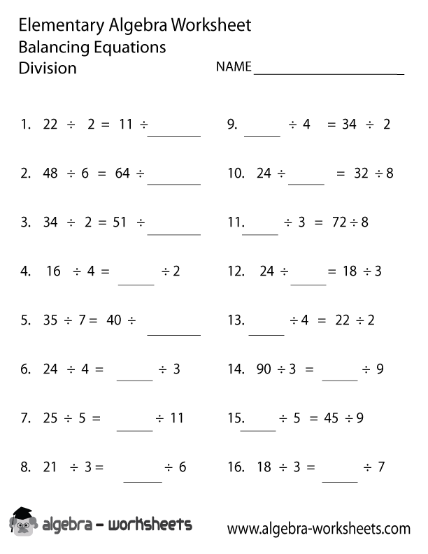 Free Printable Elementary Algebra Worksheets Also Available Online – Algebra Worksheets