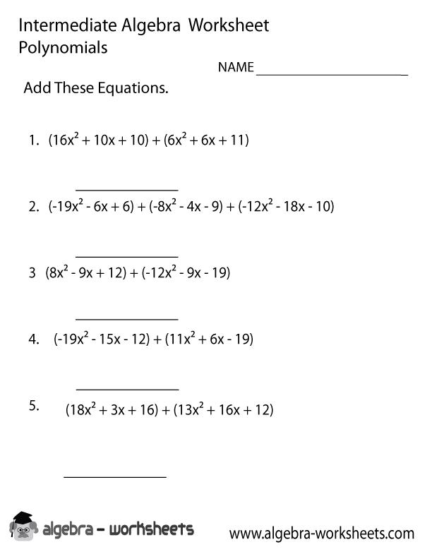 Printable Worksheets math functions worksheets : Free Printable Intermediate Algebra Worksheets - Also Available Online