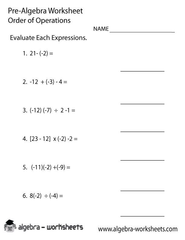 order operations pre algebra worksheet printable. Black Bedroom Furniture Sets. Home Design Ideas