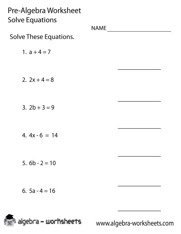 Solve Equations Pre Algebra Worksheet Printable
