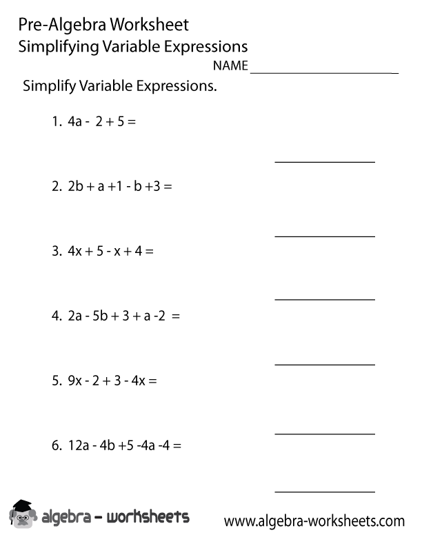 Variable Expressions PreAlgebra Worksheet Printable – Variable Worksheets